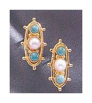 14k Soho Square Turquoise & Cultured Pearl Earrings