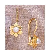14k Rosebud Pearl Earrings