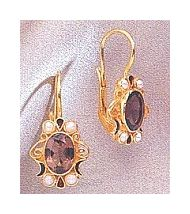 14k Natasha Smoky Topaz & Pearl Earrings