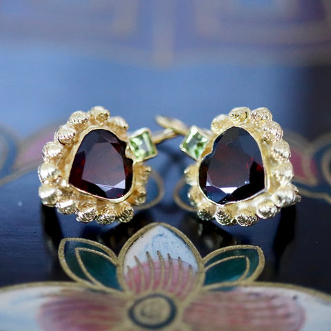 Catherine Earnshaw Earrings: Garnet and 14k Gold