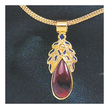 14k Garnet Frond Necklace