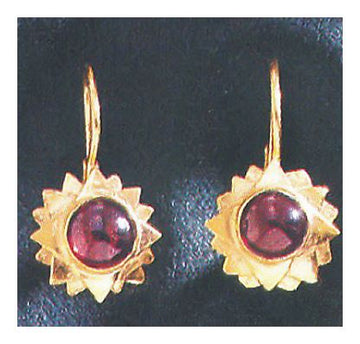14k Sifnos Garnet Sun Earrings