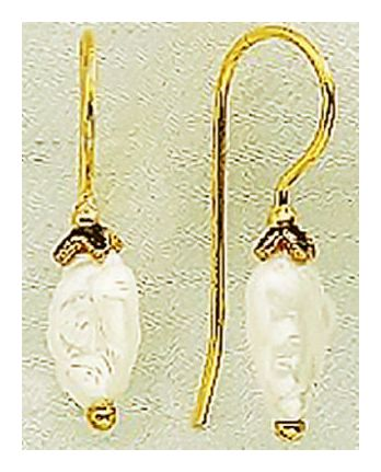 14k Teardrop Cultured Pearl Earrings
