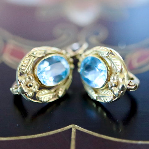 Lady Windermere Earrings: Blue Topaz and 14k Gold