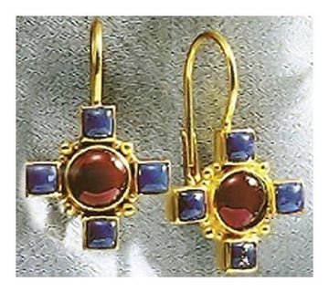 14k Domenica of Lombardy Carnelian and Lapis Earrings