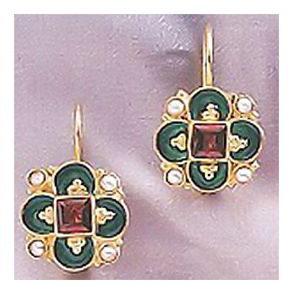 14k Newcastle Garnet & Pearl Earrings
