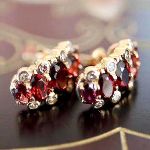14k Prince Consort Garnet and Diamond Earrings.