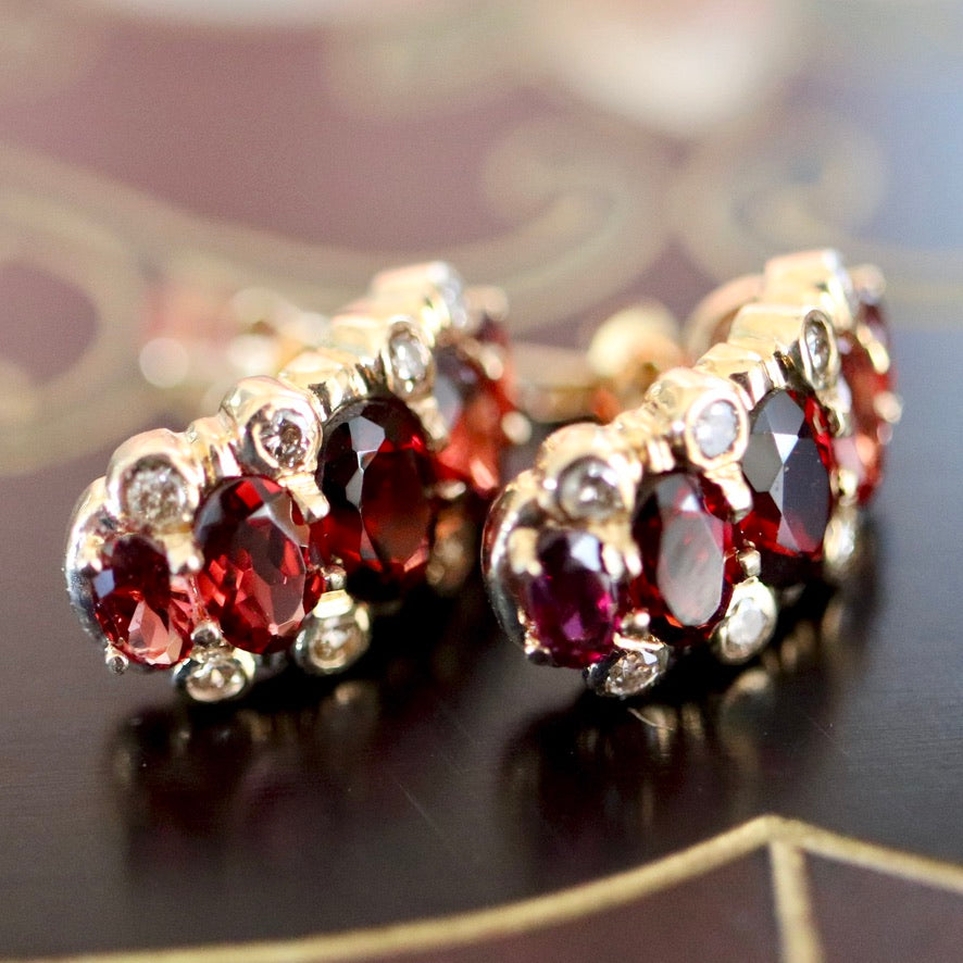 Prince Consort 14k Gold, Garnet and Diamond Earrings.