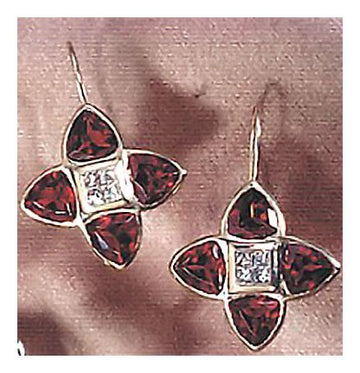 14k Garnet and Diamond Minuet Earrings