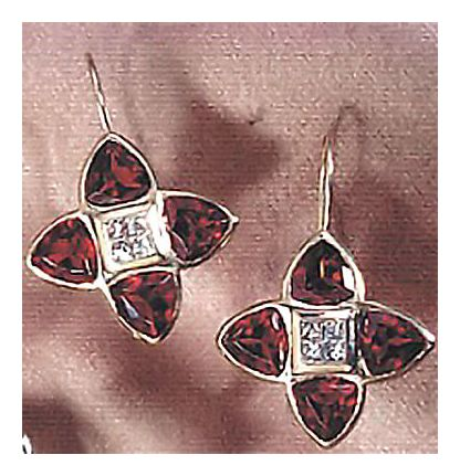 14k Garnet & Diamond Minuet Earrings