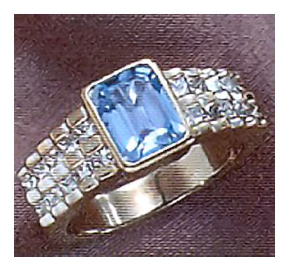 14k Fred Astaire Blue Topaz & Diamond Ring