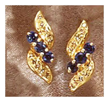 14k Winged Sapphire and Diamond Earrings