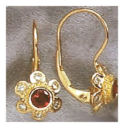 14k Madeleine Garnet & Diamond Earrings (.30ct)