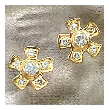14k Diamond Posy Earrings (.31ct)