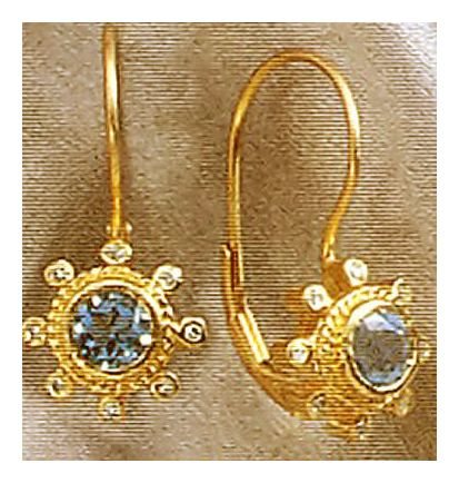 14k Le Soleil Bleu Blue Topaz & Diamond Earrings