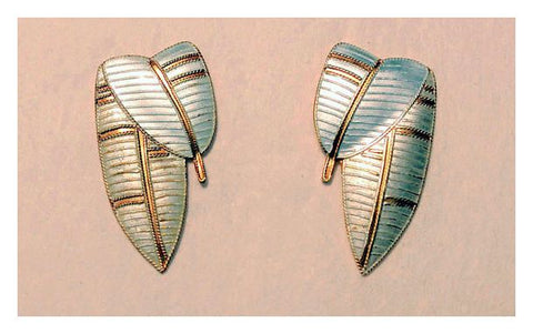 Deco Leaf Enamel Earrings