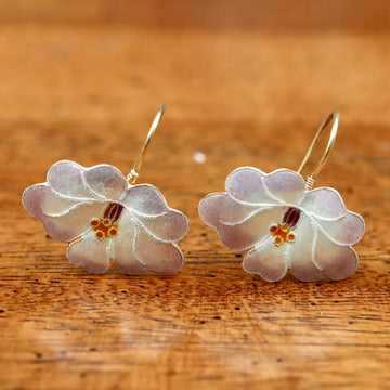 Vintage Shashi Eggshell Flowering Orchid Earrings