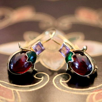 Olivia 14k Gold, Garnet and Amethyst Earrings