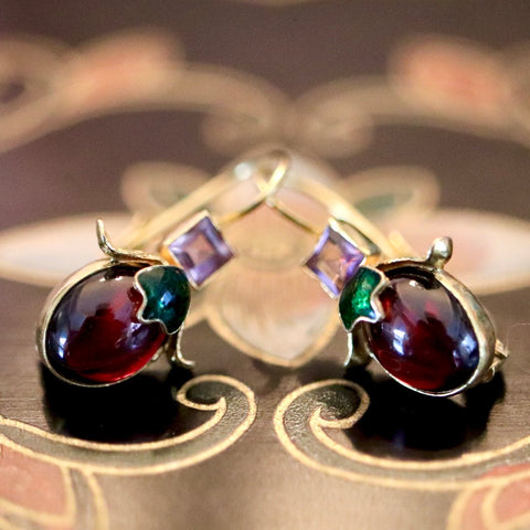 14k Olivia Amethyst & Garnet Earrings
