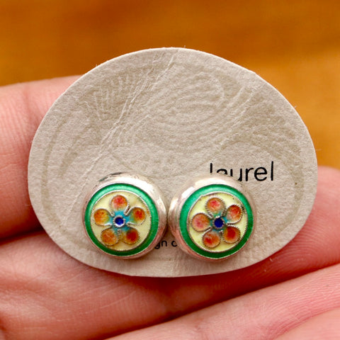 Vintage Laurel Burch Orange Flower Silver Studs