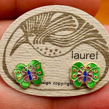 Vintage Laurel Burch Butterfly Green and Purple Gold-Vermeil Studs