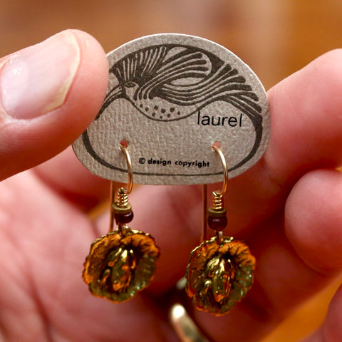 Vintage Laurel Burch Frog and Lily Gold-Plate Dangles