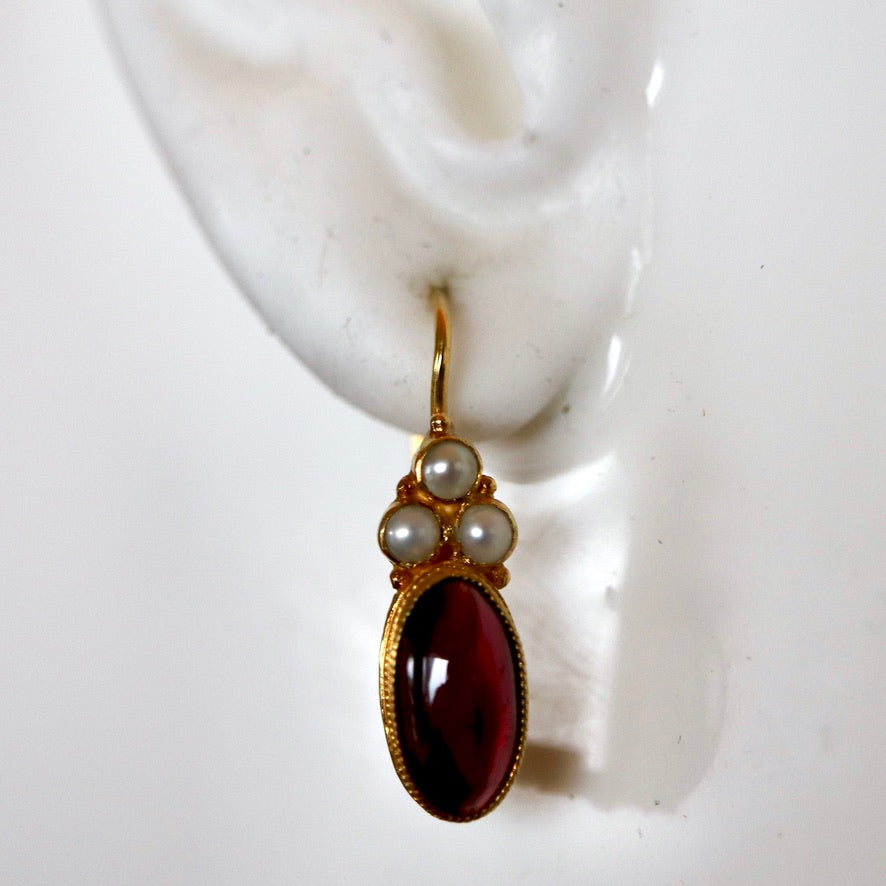 Windsor 14k Gold, Garnet and Pearl Earrings