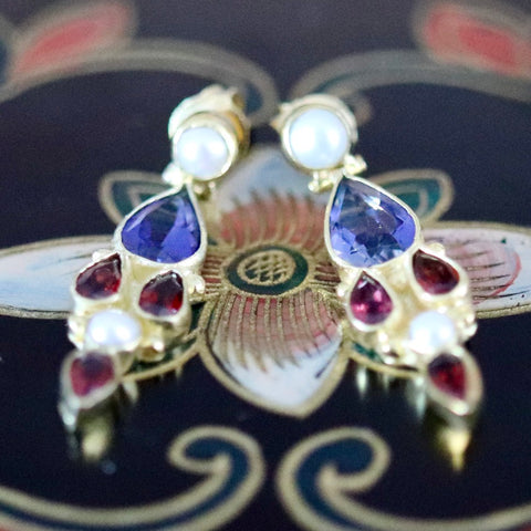 Lady Chatterley Earrings: Iolite, Garnets, Pearls and 14k Gold