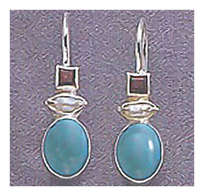 Ashford Turquoise, Garnet, & Pearl Earrings