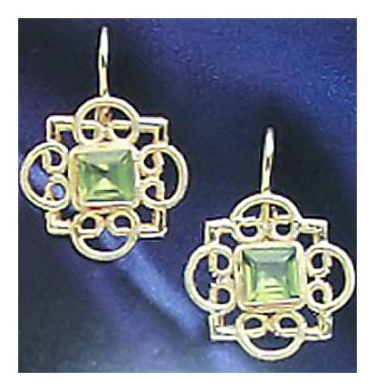 Rosette Peridot Earrings