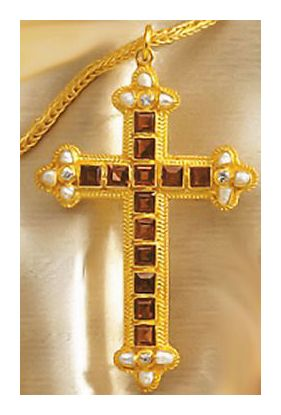 Georgian Garnet Cross Necklace