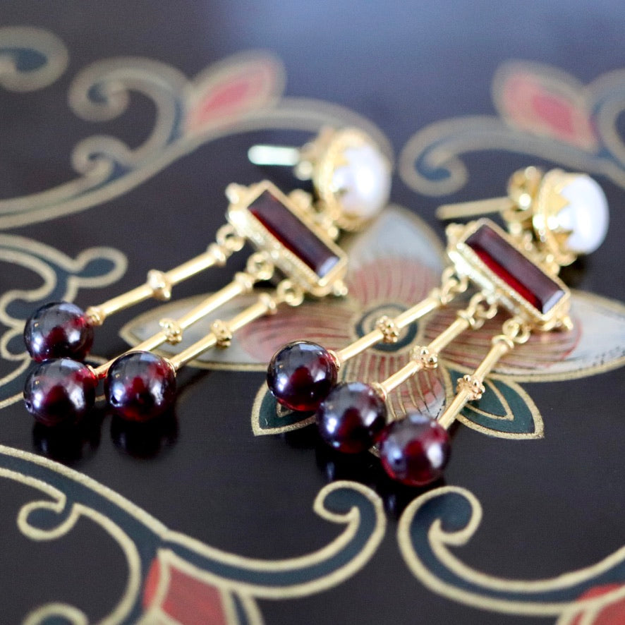 Orient Express 14k Gold, Garnet and Pearl Earrings