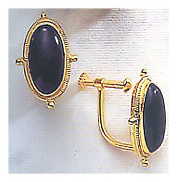 Lewis Carroll Onyx Earrings - Screw Back