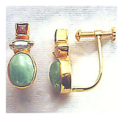Lady Margaret Emerald, Pearl,& Garnet Earrings -Screw Backs
