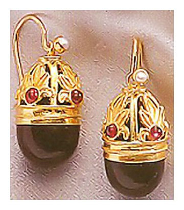 Empress Elisabeth Onyx, Garnet and Pearl Earrings-Screw Backs