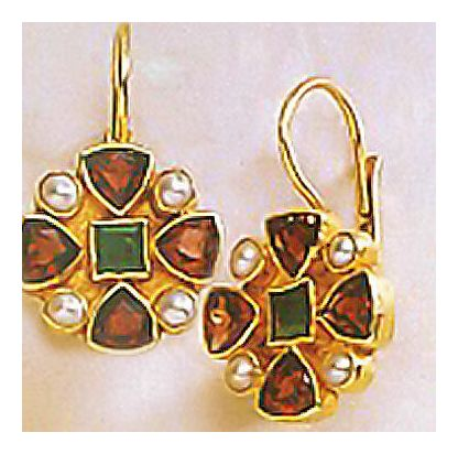 Valois Cross Garnet, Emerald, & Pearl Earrings