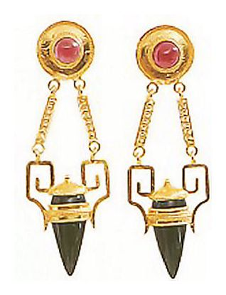 Nijinsky Onyx & Garnet Earrings