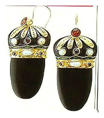 Catherine The Great Onyx, Garnet and Pearl Earrings-Screw Bac