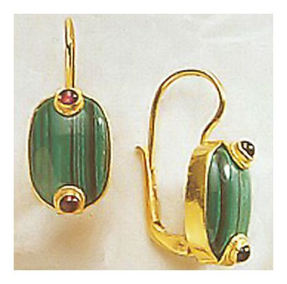 Emerald Isle Malachite & Garnet Earrings