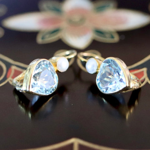 Becky Sharp Earrings: Blue Topaz, Pearl and 14k Gold