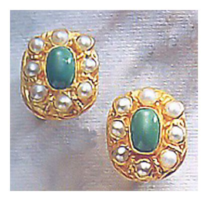 Cecily Cardew Turquoise and Pearl Earrings