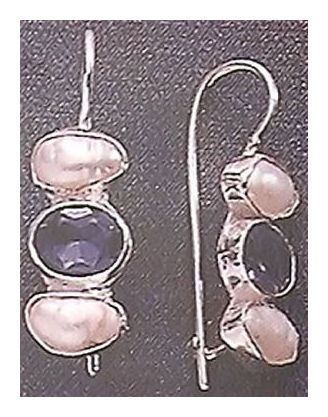 Pearls with Iolite Earrings