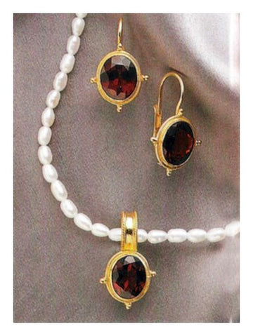 Set of Violetta Garnet and Pearl Earrings and Necklace