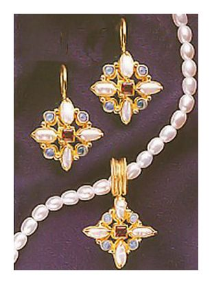 Set of Florentine Cross Garnet, Opal and Pearl Earrings and Necklace