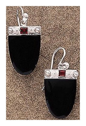 Monaco Onyx, Garnet and Pearl Earrings