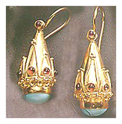 Princess Sophia Turquoise & Garnet Ear-Screw Backs