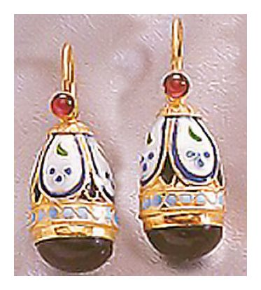 Princess Alexandra Onyx and Garnet Earrings