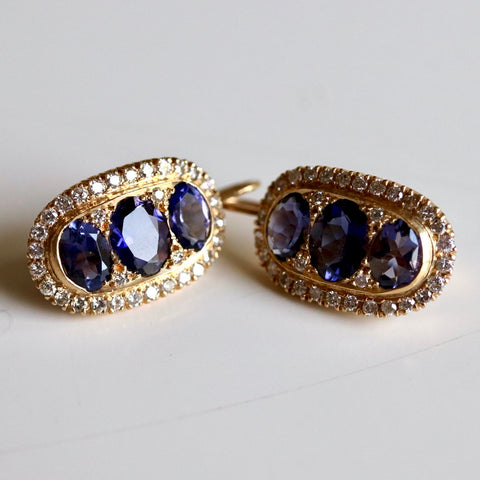 14k Iolite and Diamond Drop Earrings