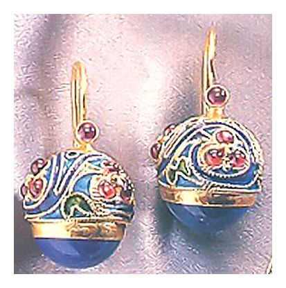 Madame Tsaichovsky Lapis and Garnet-Screw Backs