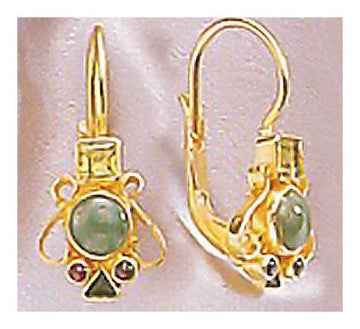 Madrigal Emerald, Peridot and Garnet Earrings
